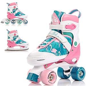meteor® 3in1 Inline-Skates – Rollschuhe – Schlittschuh – Kinder Damen Rollerskates Set – Dieser Schuh ist im Sommer als Inline-Skates Rollschuh -im Winter als Schlittschuh -S(31-34)-M(35-38)-L(39-42)