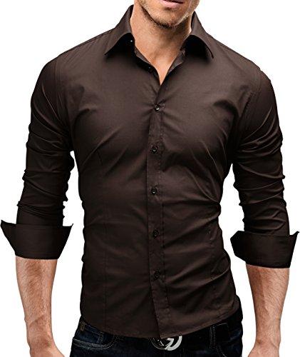 Merish Hemd Slim Fit 14 Farben Größen S-XXL Herren Modell 01 Braun XL