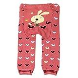 Leggings de laine de bébé et tout-petit par Dotty Fish - Lapin rose aux coeurs - Moyen / 12-24 mois