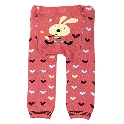 Dotty Fish Baby und Kleinkind Strickleggings. Leggings für Mädchen. Rosa mit Herzen und Häschen. Mittel (12-24 Monate) - Kind Mittel Strumpfhosen