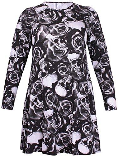 Purple Hanger - Haut Long Pull Robe Femme Fleur Tartan Impriméà Carreaux Col Rond Evasé Balancé - Grande Taille Crâne & Rose