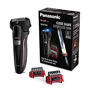 Panasonic ES-LL41 Hybrid-Rasierer, 3in1-Rasierer zum Rasieren, Trimmen und Stylen, 2 Aufsätze, schwarz