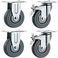 125mm no marca duro gris giratorio con freno y placa de fijo Fitting–Ruedas de goma ruedas de alta resistencia ruedas por Bulldog ruedas–Max 400kg por Set