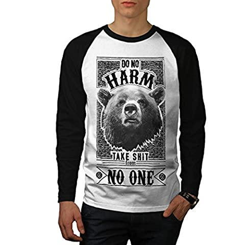 Loin Ours Citation Slogan Sauvage Animal Men M T-shirt à manches longues | Wellcoda