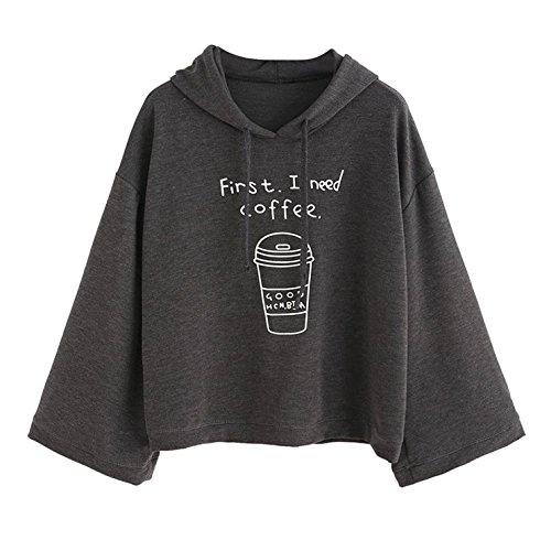 Kinder Sweatshirt Mit Kapuze (Damen Mode Kapuzenpullover ''First I Need Coffee'' Gedruckt Hoodies Herbst Winter Warm Sweatshirt mit Kapuze Lange Ärmel Casual Loose Pullover Tops für Frauen Mädchen)
