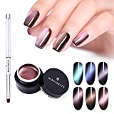 BORN PRETTY 5D Cat Eye Magnetic Gel Polish Starry Sky Soak Off UV Gel Nail Art Manicure Varnish 6 Colors Set with Nail Brush