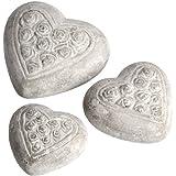 Hill Interiors - Set de 3 figuras de corazones de piedra con estampado floral (Talla Única/Rosas)