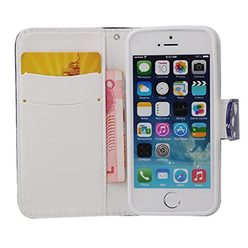 MOONCASE Étui pour Apple iPhone 5 / 5S Printing Series Coque en Cuir Portefeuille Housse de Protection à rabat Case Cover ZD07 ZD10 #1230