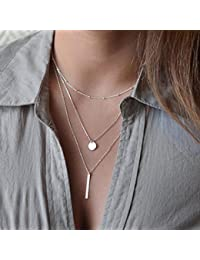 8m Simple chapado en oro Multilayers Tassel Coin Bar Collar Clavícula Cadena Charm Joyería Plata