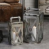 1 x Laterne Factory Metall/Glas anthrazit/silber m. Haltegriff Höhe 33 o. 44 cm, Lantern, nostalgisch, Beleuchtung (15x15x33 cm klein)