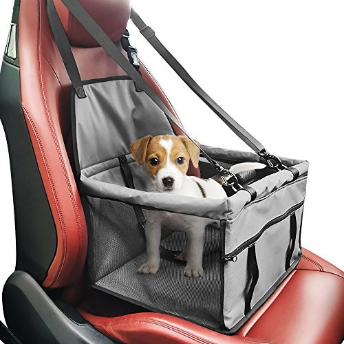 Creaker Pet Car Booster Seat Carrier, Portable Foldable Pet Car Seat Cover Carrier with Seat Belt for Dog Cat Puppy Kitty Up to 25Lbs (Grey)