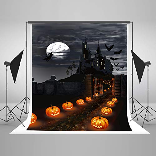 (KateHome PHOTOSTUDIOS 1,5x2,2m Halloween Kulisse Hallowmas Hintergründe Kürbis Laterne Foto Kulissen Horror Castle Party Dekoration Hintergrund)