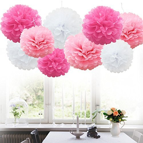 enpapier PomPoms weiß rosa hellrosa Hochzeit Party Deko, 25cm (Tea Party Dekorationen)