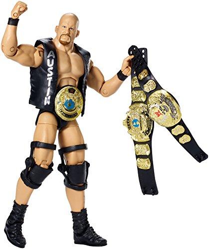 Figur WWE Stone Cold Steve Austin Defining Elite Serie 2015 (mit 3 Figur Championship Belts)