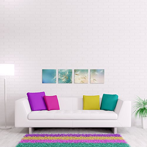 malango® - Leinwandbild - Pusteblume Leinwanddesign in Premium Qualität 4-Teiler zentriert spezielle Latex-Farbe auf Premium Leinwandstoff 155 x 35 cm