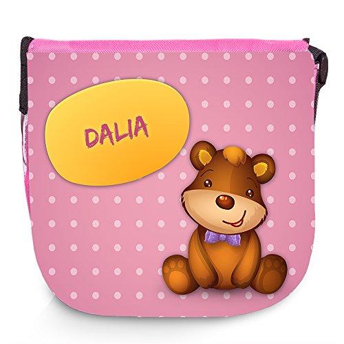 Umhängetasche mit Namen Dalia und süßem Bären-Motiv | Schultertasche für Mädchen Dalia Bar