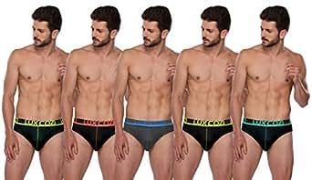 Lux Cozi GLO Men's Multicolored Cotton Briefs (Pack of 5) (X-Small)