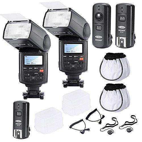 Neewer® Professionelle Speedlite Blitzgerät E-TTL * High-Speed-Synchronisation * Zwei Blitzgeräte Set für EOS 650D 600D 1100D 1000D 550D 500D 450D 400D 5D,Canon Rebel T3 XS T4i T3i T2i T1i Xsi Xti, Mark III 5D Mark II 7D 60D 50D 40D 30D DSLR-Kameras, Inklusive: 2 Neewer Pro NW680 E-TTL Auto-Fokus Blitz + Wireless Auslöser (1 Sender, 2 Empfänger) + 2 Kabel (C1-C3 + -Kabel) + 2 Hart & WeicheBlitz-Diffusor + 2 Objektivdeckelhalter (High-speed-kamera-blitz)