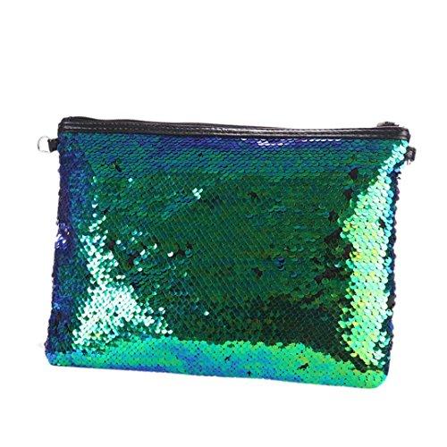 Elecenty Borsa a tracolla della borsa della borsa del totalizzatore della borsa delle paillettes della borsa di colore solido all'aperto di modo