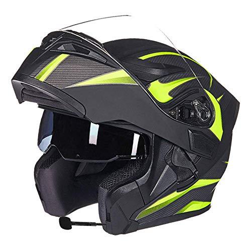 Preisvergleich Produktbild JKL Helm Double Lens Anti-Fog Bluetooth integrierte modulare Flip Full Face Motorrad Herren Full-Cover-Helm Sonnenschutz MP3-Walkie-Talkie (Color : D,  Size : L)