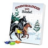 Adventskalender mit Namen Bärbel und Pferde-Motiv in Winterlandschaft für Mädchen   Gefüllt mit Schokolade   Weihnachts-Kalender   24 Türchen