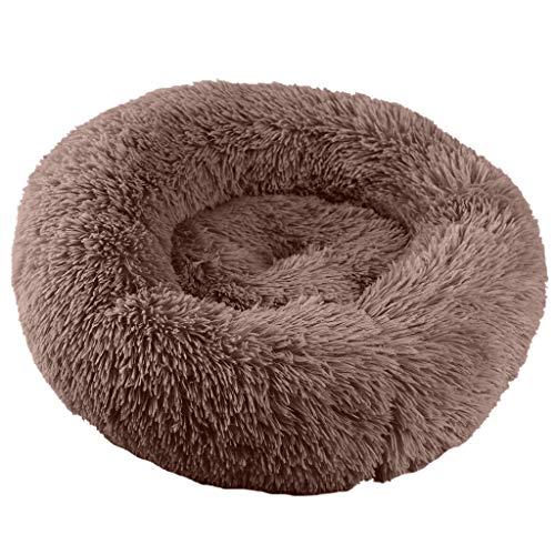 Marvvola Donut Form Hund Katze Rund Bett,Runde Plüsch Zwinger Katzenstreu Vier Jahreszeiten,Weich Warm Langes Plüsch Haustierbett- Hundebett Waschbar (L, Braun-A) -