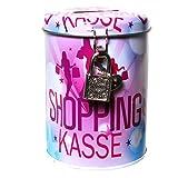 1 SPARDOSE SHOPPING KASSE SPARBÜCHSE M. SCHLOSS 11 x 8,5cm GELDGESCHENKE DEKO