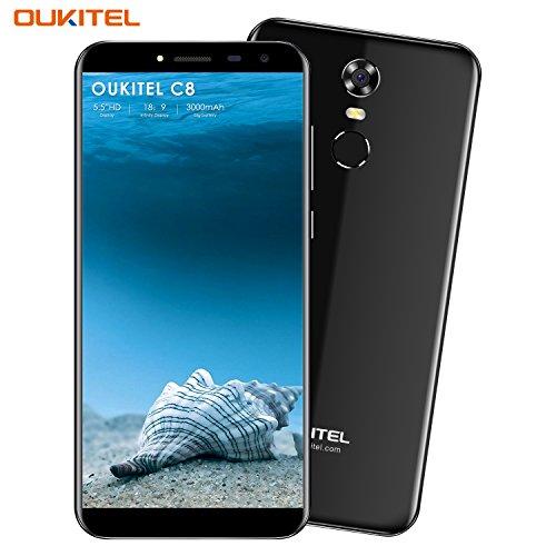 Oukitel C8 Handy ohne Vertrag 5.5 Zoll Smartphone (18:9 Verhältnis Vollbild) Android 7.0 3000mAh Akku MTK6580A Quad Core 16GB ROM 13MP + 5MP Kamera Dual SIM Smartphone mit Fingerabdruck-Schwarz