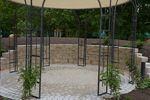 ELEO Florenz runder Eisenpavillon mit Sonnensegel, Ø 3,7 Meter (Oberfläche: anthrazit duplexbeschichtet) - 6