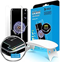 Galaxy S9+ Screen Protector Tempered Glass Shield, Full Screen Coverage 3D Curved Dome Glass [Liquid Dispersion Tech] Easy Install Tray and UV Light by Whitestone for Samsung Galaxy S9 Plus (2018)