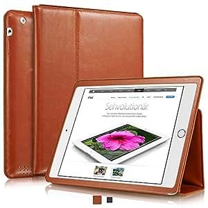 """KAVAJ iPad Hülle Echtleder Case """"Berlin"""" für das Apple iPad 4 iPad 3 iPad 2, Cognac-Braun aus echtem Leder mit Stand und Auto Schlaf/Aufwachenen Funktion. Dünnes Smart-Cover Schutzhülle Tasche für die iPad der 2./3./4. Generation"""