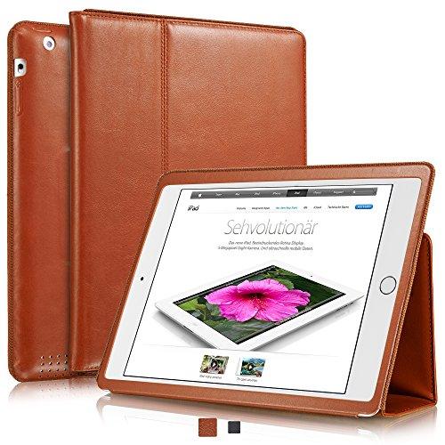 KAVAJ Lederhülle Berlin geeignet für Apple iPad 4 iPad 3 iPad 2 Hülle Echtleder Case Cognac-Braun aus echtem Leder mit Stand und Auto Schlaf/Aufwachenen Funktion. Dünnes Smart-Cover Schutzhülle