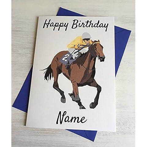 Corsa cavallo personalizzabile Premium Avorio compleanno scheda