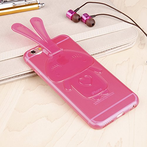 EGO ® Transparent Silikon TPU 3D Schutz Hülle + Panzerglas für iPhone 7 / iPhone 8 durchsichtig Hasenohren Back Slim Case Crystal Soft Ultra Dünn Bunny Hase Pink