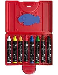 Pelikan 722942 - Wachsmalstifte wasserfest Kunststoff-Etui mit 8 dicken dreieckigen Stiften und Schaber