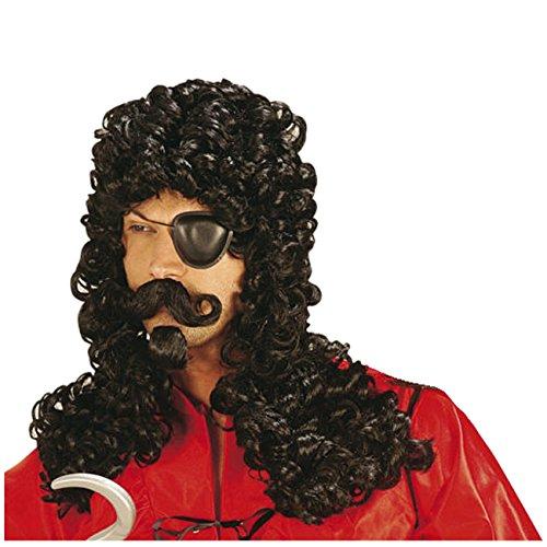 Perücke Pirat mit Bart schwarze lange Lockenperücke Piratenperücke (Perücke Hook)