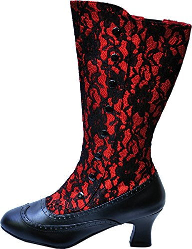 SPOOKY-160 Red Satin-Blk Lace