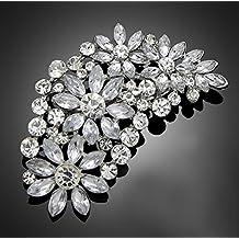 De la vendimia del gran de la novia de flores de coloures plata de imitación de