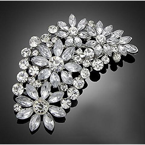 Vintage grande sposa strass cristallo Spilla fiore argento 7,2cm (br077)