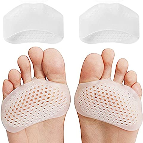 Breathable Gel Metatarsal Pads - Extra Cushioning Soft Ball of Foot Pads Metatarsal Inserts Prevent Pain Relief Callus and Blisters For Men and Women (2Pairs). Metatarsal cushions perfect for sports or standing jobs. Fit all kind of shoes.