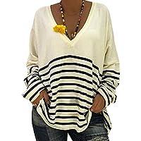 Camisa De Manga Larga A Rayas con Cuello En V De Las Señoras Atractivas Ocasionales Remiendo Blusa Pullover Camisa Tops S-XL