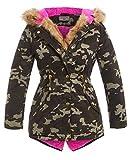 SS7 NEUF pour Fille Matelassé Toile parka manteau en fausse fourrure, kaki, Age 5 - 12 ans - kaki camouflage rose, 9-10 Ans