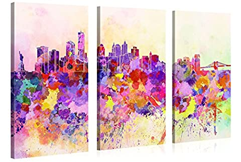 Large Canvas Print Wall Art – Manhattan in Abstract Watercolour Style - 120x80cm Canvas Picture Stretched On A Wooden Frame – Giclee Canvas Printing – Hanging Wall Deco Picture