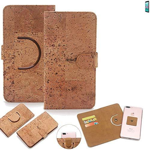 K-S-Trade Schutz Hülle für Wiko Lenny 5 Handyhülle Kork Handy Tasche Korkhülle Handytasche Wallet Case Walletcase Schutzhülle Flip Cover Smartphone