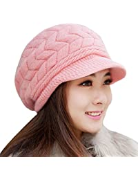 AlexVyan Unisex Woolen Beanie Cap for Men Women Girl Boy Warm Snow Proof Soft for Riding, Cycling, Byke, Bike, Motorcycle Air Proof (Pink)