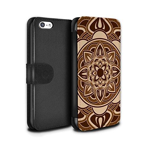 Stuff4 Coque/Etui/Housse Cuir PU Case/Cover pour Apple iPhone 5C / Pack 15pcs Design / Art Mandala Collection Pétale/Sépia