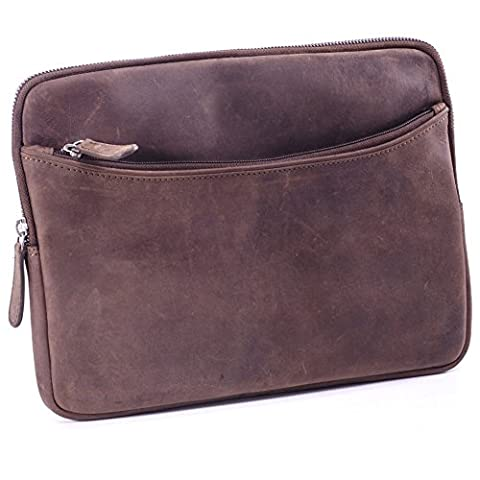 Tablet pc Tasche Etui Case Cover Mappe Hülle Schutzhülle Echt Leder braun für 10,1 Zoll bis 11.6 Zoll für Netbook Notebook iPad tablet
