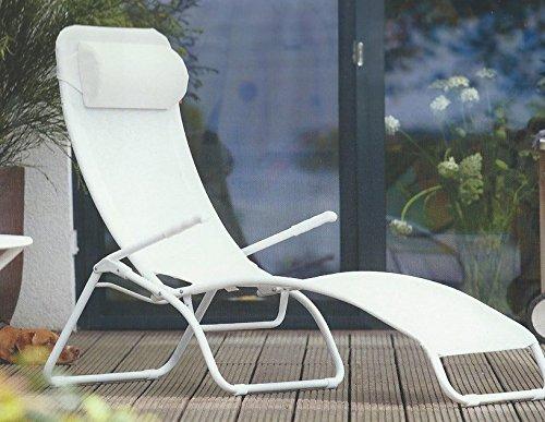 Jan Kurtz Limited Edition Fiam Samba Sonnenliege, weiß Kunststoffgewebe ohne Nackenkissen LxBxH 142x63x107cm Gestell Aluminium pulverbeschichtet