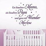 KLEBEHELD® Wandtattoo mit Wunschnamen | Ein bisschen Mama, ein bisschen Papa und ganz viel Wunder. | mit Sterne | Farbe türkis, Größe 60x40cm