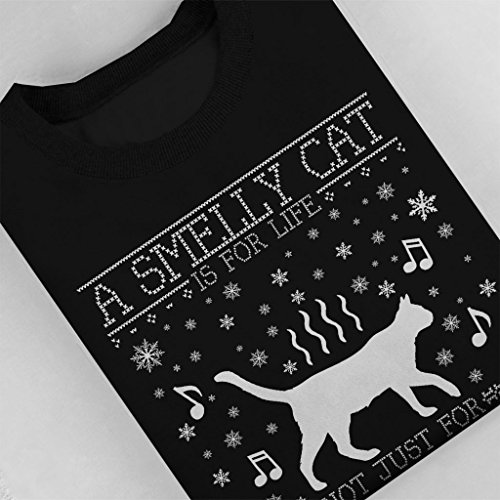 Friends A Smelly Cat Is Not Just For Christmas Knit Pattern Women's Sweatshirt Black